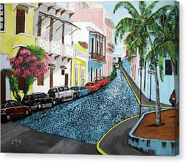 Colorful Old San Juan Canvas Print by Luis F Rodriguez