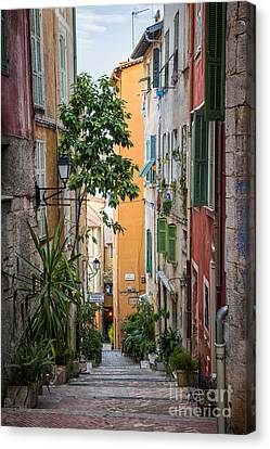 Colorful Old Street In Villefranche-sur-mer Canvas Print by Elena Elisseeva