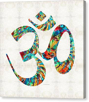 Colorful Om Symbol - Sharon Cummings Canvas Print by Sharon Cummings