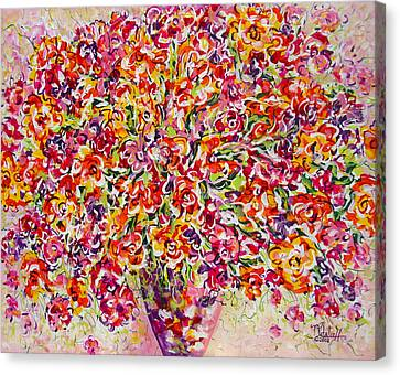 Canvas Print featuring the painting Colorful Organza by Natalie Holland