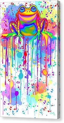 Colorful Painted Frog  Canvas Print by Nick Gustafson