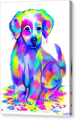 Colorful Painted Puppy Canvas Print by Nick Gustafson