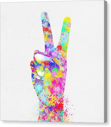 Colorful Painting Of Hand Point Two Finger Canvas Print by Setsiri Silapasuwanchai
