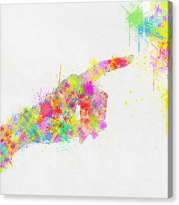 Colorful Painting Of Hand Pointing Finger Canvas Print by Setsiri Silapasuwanchai