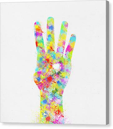 Closely Canvas Print - Colorful Painting Of Hand Pointing Four Finger by Setsiri Silapasuwanchai