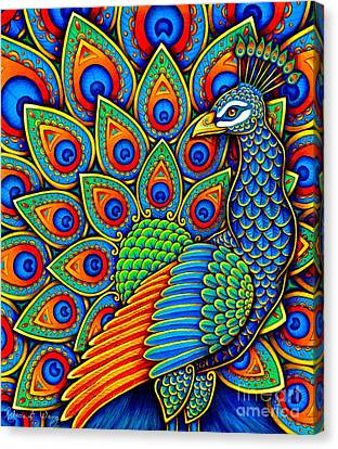 Colorful Paisley Peacock Canvas Print