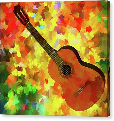 Colorful Palette Knife Guitar Canvas Print by Dan Sproul