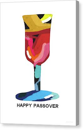 Jewish Canvas Print - Colorful Passover Goblet- Art By Linda Woods by Linda Woods