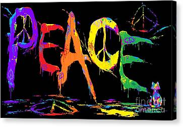 Canvas Print - Colorful Peace Cat by Nick Gustafson