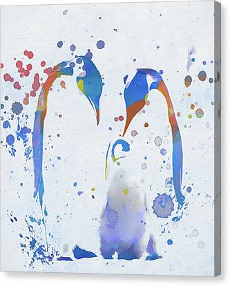 Canvas Print featuring the painting Colorful Penguin Family by Dan Sproul