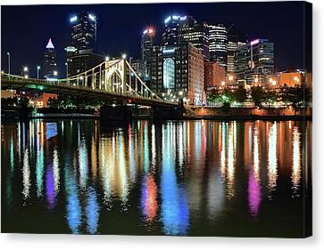 Upmc Canvas Print - Colorful Pittsburgh Lights by Frozen in Time Fine Art Photography