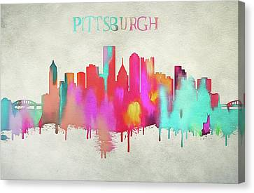 Colorful Pittsburgh Skyline Silhouette Canvas Print by Dan Sproul