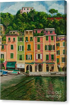 Colorful Portofino Canvas Print by Charlotte Blanchard