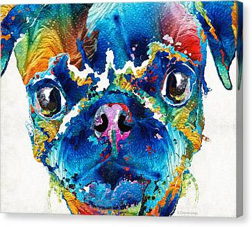 Colorful Pug Art - Smug Pug - By Sharon Cummings Canvas Print