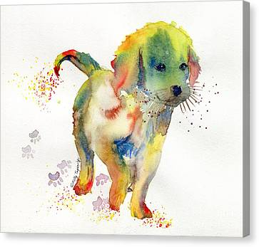 Colorful Puppy Watercolor - Little Friend Canvas Print by Melly Terpening
