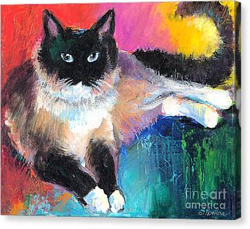 Colorful Ragdoll Cat Painting Canvas Print by Svetlana Novikova
