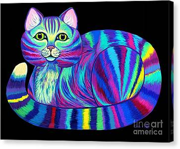 Canvas Print - Colorful Rainbow Kitty Cat by Nick Gustafson