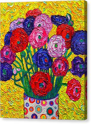 Colorful Ranunculus Flowers In Polka Dots Vase Palette Knife Oil Painting By Ana Maria Edulescu Canvas Print by Ana Maria Edulescu