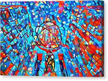 Canvas Print featuring the painting Colorful Rockefeller Center Atlas by Dan Sproul
