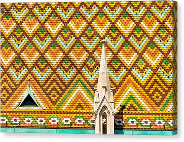 Colorful Roof With Zsolnay Ceramics Matthias Church Budapest  Canvas Print by Matthias Hauser