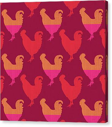 Colorful Roosters- Art By Linda Woods Canvas Print by Linda Woods