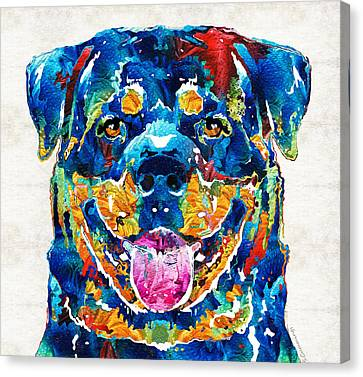 Colorful Rottie Art - Rottweiler By Sharon Cummings Canvas Print by Sharon Cummings