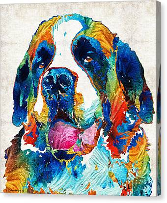 Colorful Saint Bernard Dog By Sharon Cummings Canvas Print by Sharon Cummings