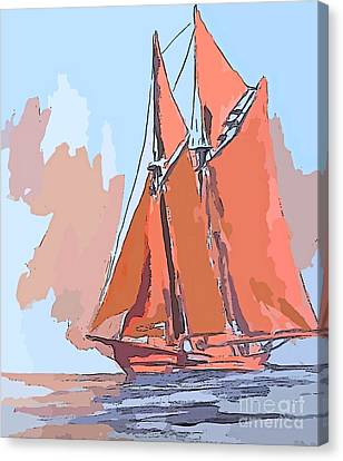 Bluenose Canvas Print - Colorful Schooner Abstract by John Malone