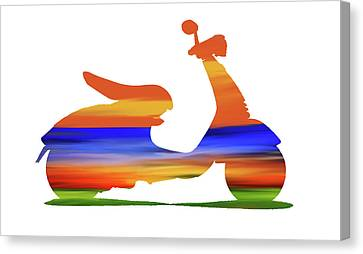 Colorful Sky Canvas Print - Colorful Scooter  by Art Spectrum