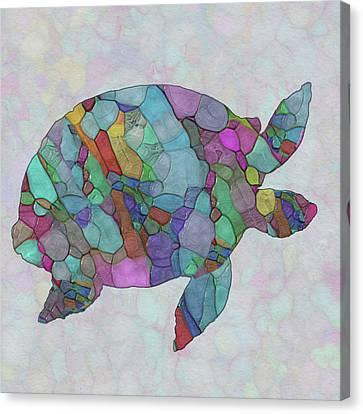 Colorful Sea Turtle Canvas Print by Jack Zulli