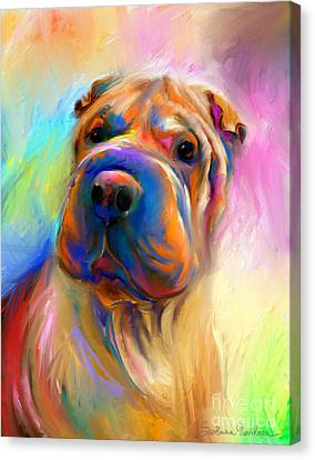 Art Sale Canvas Print - Colorful Shar Pei Dog Portrait Painting  by Svetlana Novikova