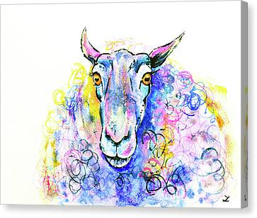 Canvas Print featuring the painting Colorful Sheep by Zaira Dzhaubaeva