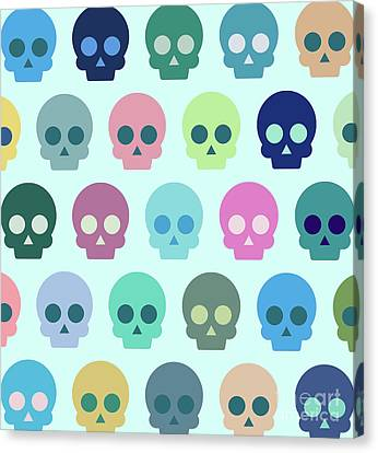 Colorful Skull Cute Pattern Canvas Print by Amir Faysal