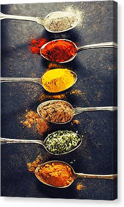 Colorful Spices In Metal Spoons  Canvas Print by Natalia Klenova