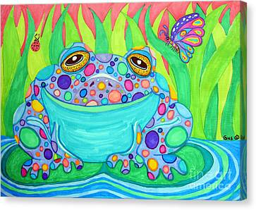 Colorful Spotted Frog Canvas Print by Nick Gustafson
