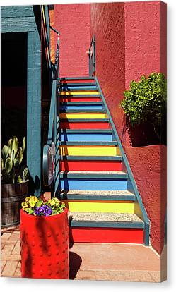 Canvas Print featuring the photograph Colorful Stairs by James Eddy
