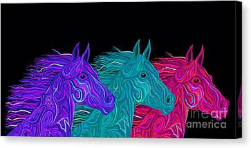 Canvas Print featuring the drawing Colorful Stallions  by Nick Gustafson