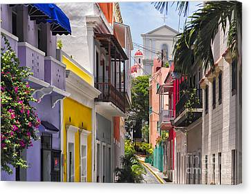Colonial Canvas Print - Colorful Street Of Old San Juan by George Oze