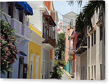 Colorful Streets Of Old San Juan Canvas Print by George Oze