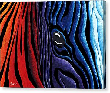 Colorful Stripes Original Zebra Painting By Madart In Black Canvas Print by Megan Duncanson