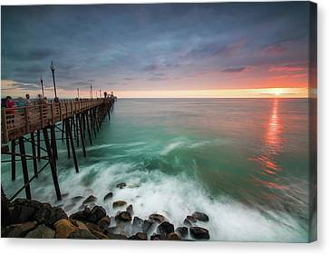 Singh Canvas Print - Colorful Sunset At The Oceanside Pier by Larry Marshall