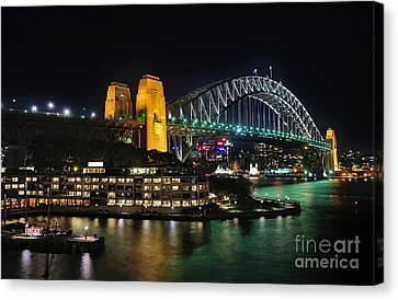 Colorful Sydney Harbour Bridge By Night 2 Canvas Print