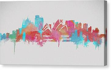 Colorful Sydney Skyline Silhouette Canvas Print by Dan Sproul