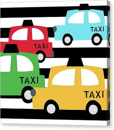 Juvenile Art Canvas Print -  Colorful Taxis- Art By Linda Woods by Linda Woods