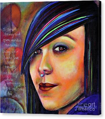 Colorful Teen An Artistic Representation Of A Colorful Daughter Canvas Print by Johane Amirault