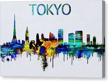 Colorful Tokyo Skyline Silhouette Canvas Print by Dan Sproul