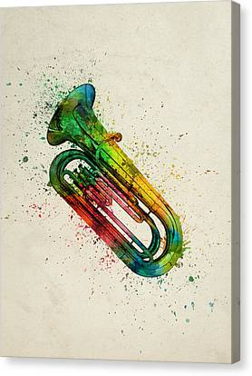 Colorful Tuba 01 Canvas Print by Aged Pixel