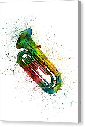 Colorful Tuba 02 Canvas Print by Aged Pixel