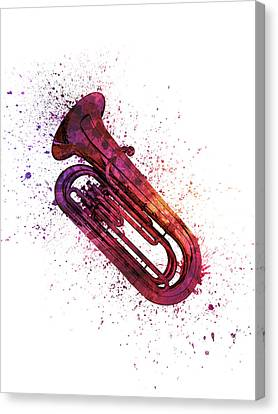 Colorful Tuba 04 Canvas Print by Aged Pixel