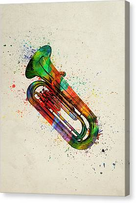 Colorful Tuba 05 Canvas Print by Aged Pixel